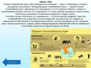 Афины 1896 Летние Олимпийские игры 1896 (официальное название — Игры I Олимпи