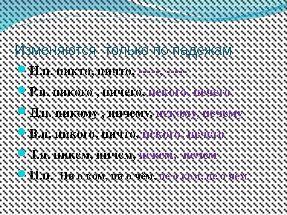 Изменяются только по падежам И.п. никто, ничто, -----, ----- Р.п. никого , ни...