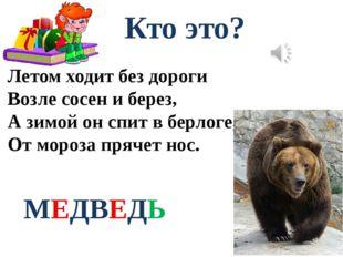 Кто это? Летом ходит без дороги Возле сосен и берез, А зимой он спит в берлог