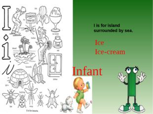 I is for island surrounded by sea. Ice Ice-cream Infant