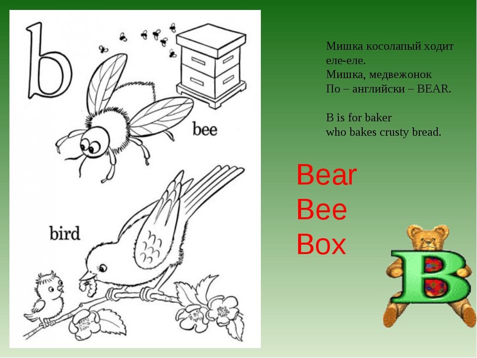 Мишка косолапый ходит еле-еле. Мишка, медвежонок По – английски – BEAR. B is...