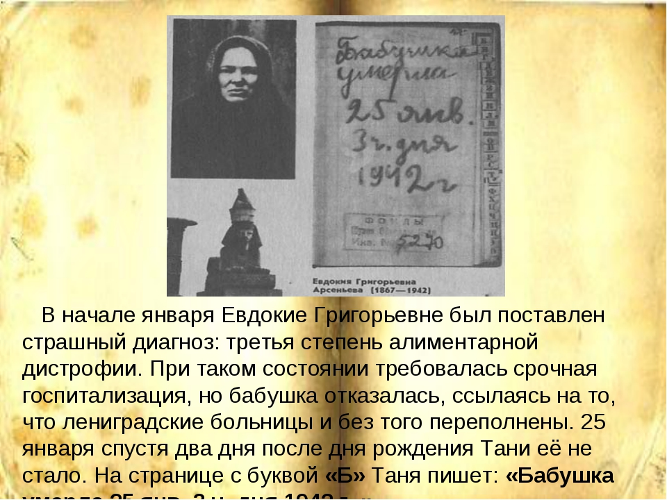 В начале января Евдокие Григорьевне был поставлен страшный диагноз: третья с...
