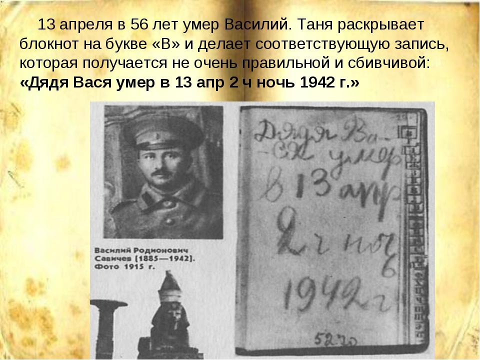 13 апреля в 56 лет умер Василий. Таня раскрывает блокнот на букве «В» и дела...