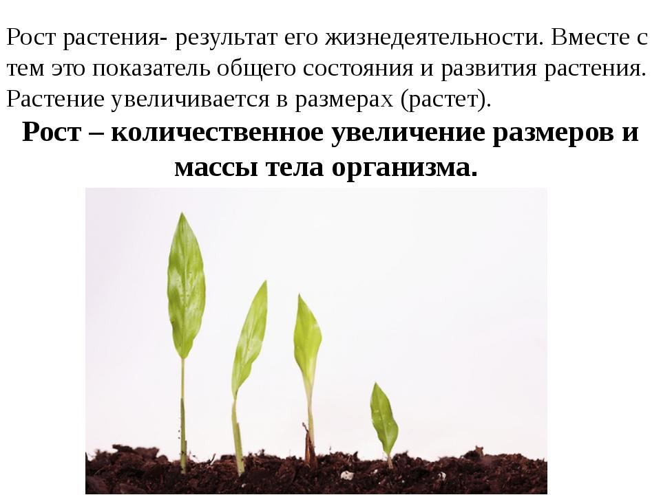 Рост растения- результат его жизнедеятельности. Вместе с тем это показатель о...