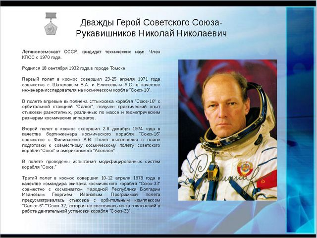 Дважды Герой Советского Союза- Рукавишников Николай Николаевич Летчик-космона...
