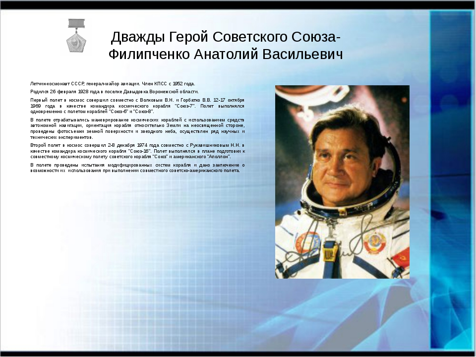 Дважды Герой Советского Союза- Филипченко Анатолий Васильевич Летчик-космонав...