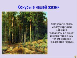 """Конусы в нашей жизни Установите связь между картиной Шишкина """"Корабельная рощ"""