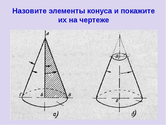 Назовите элементы конуса и покажите их на чертеже