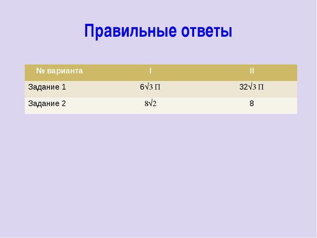Правильные ответы № варианта I II Задание1 6√3П 32√3П Задание2 8√2 8
