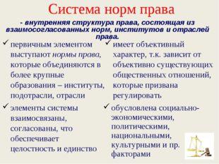 Система норм права первичным элементом выступают нормы права, которые объедин