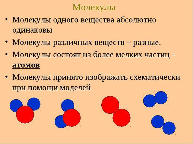 Молекулы Молекулы одного вещества абсолютно одинаковы Молекулы различных веще...