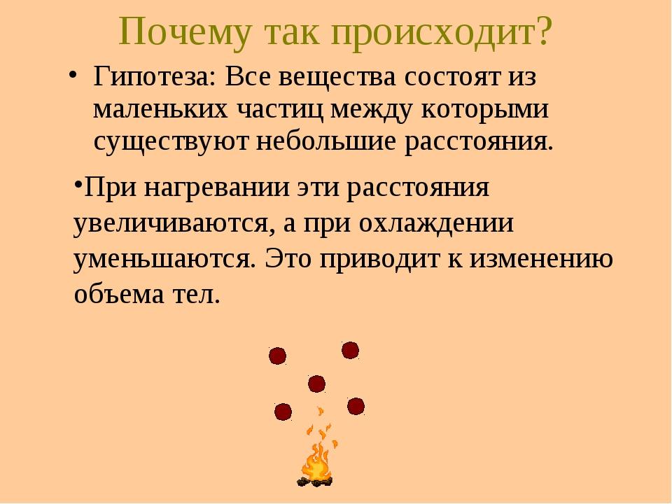 Почему так происходит? Гипотеза: Все вещества состоят из маленьких частиц меж...