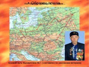 Пол-Европы прошагали, полземли… Боевой путь Валиуллина М.Г. ( составлен по р
