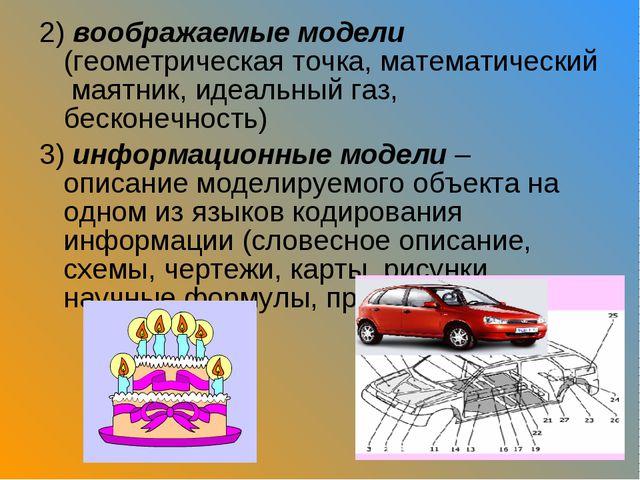 2) воображаемые модели (геометрическая точка, математический маятник, идеальн...