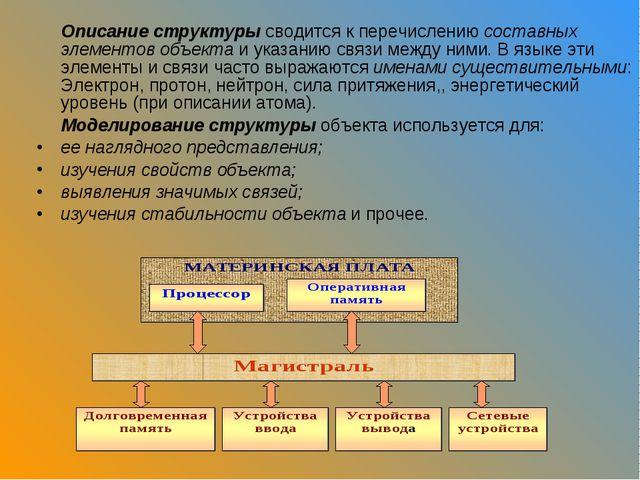 Описание структуры сводится к перечислению составных элементов объекта и ука...