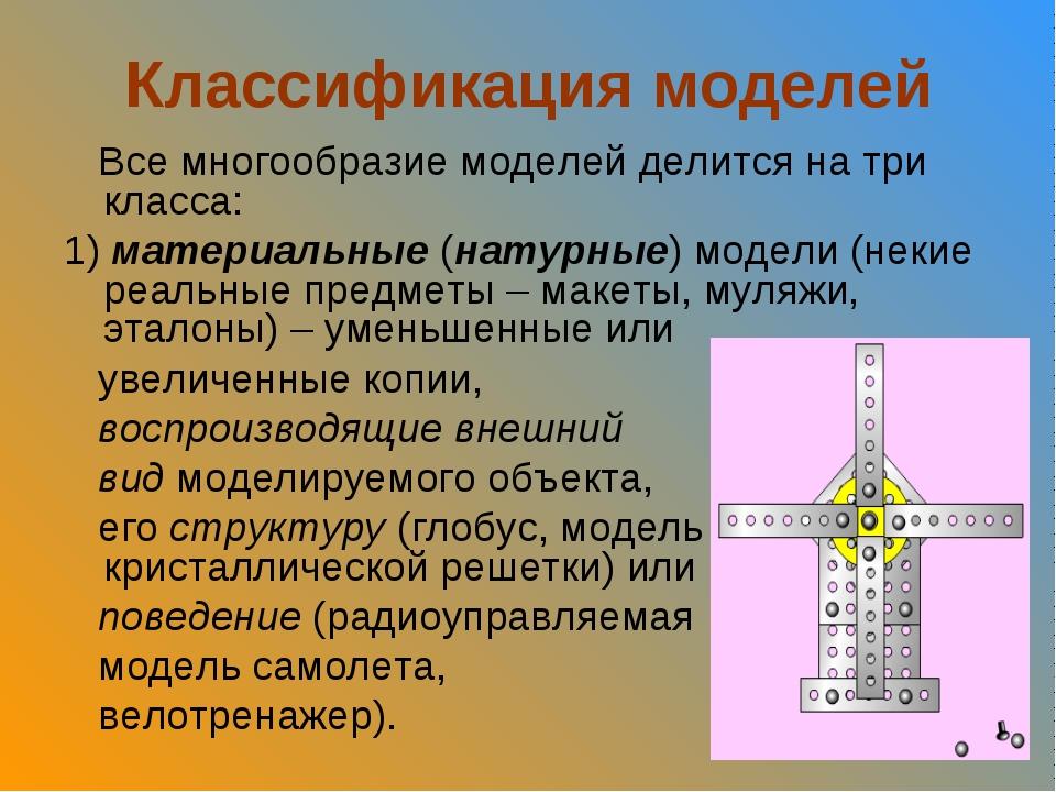 Классификация моделей Все многообразие моделей делится на три класса: 1) мате...