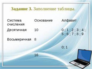 Задание 3. Заполнение таблицы. Система счисленияОснованиеАлфавит Десятичная