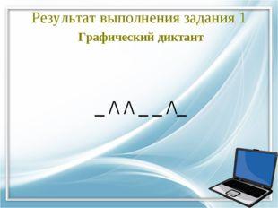 Результат выполнения задания 1 Графический диктант  _ /\ /\ _ _ /\_