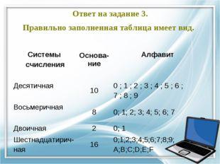 Ответ на задание 3. Правильно заполненная таблица имеет вид. Системы счислени