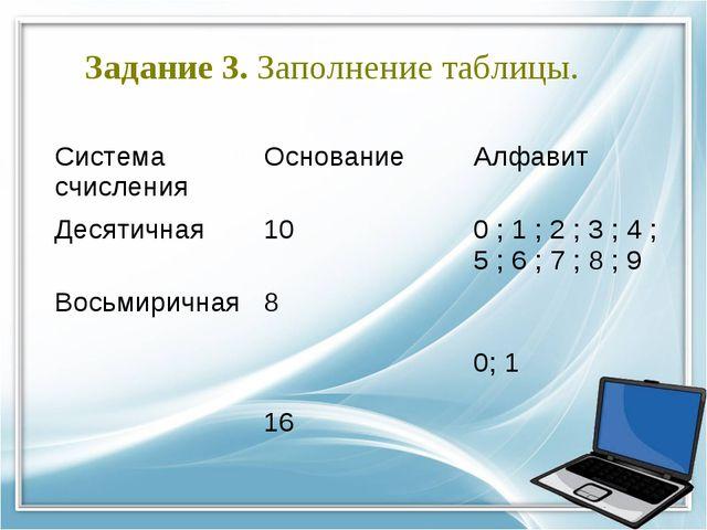 Задание 3. Заполнение таблицы. Система счисленияОснованиеАлфавит Десятичная...