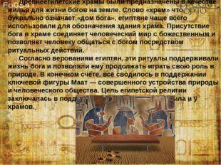Древнеегипетские храмы были предназначены в качестве жилья для жизни богов н