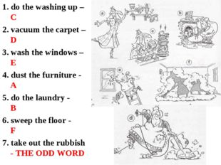 1. do the washing up – C 2. vacuum the carpet – D 3. wash the windows – E 4.