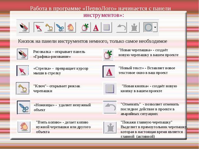 Работа в программе «ПервоЛого» начинается с панели инструментов»: Кнопок на п...