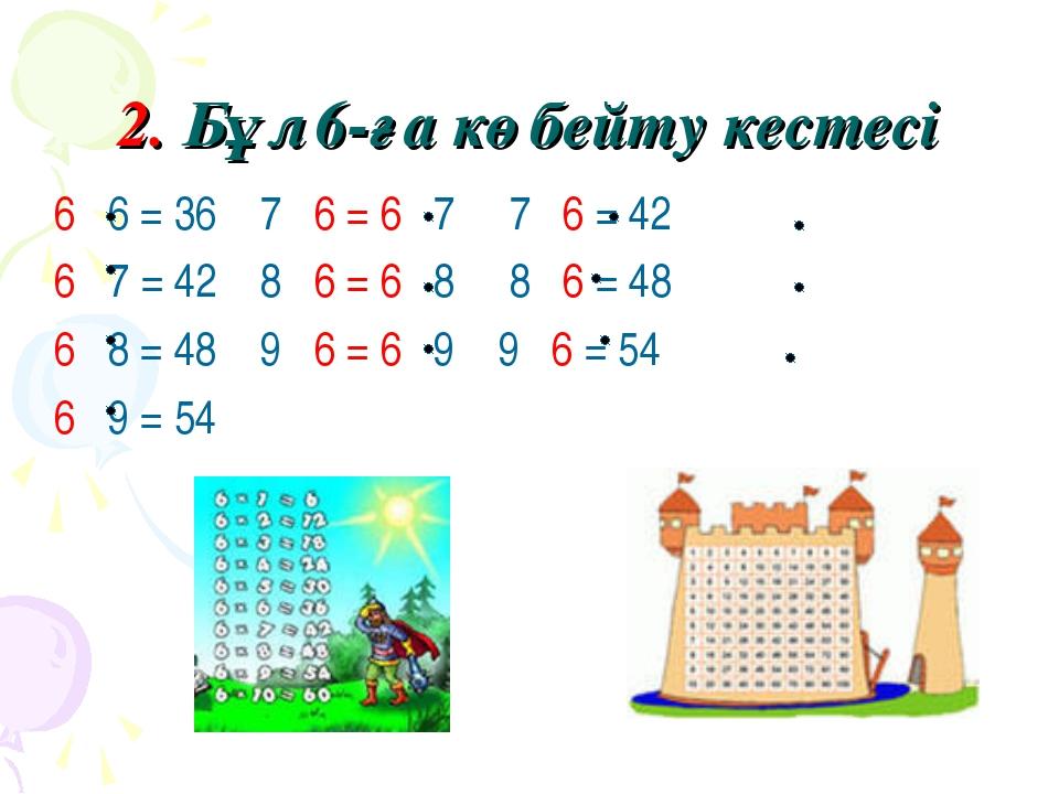 2. Бұл 6-ға көбейту кестесі 6 6 = 36 7 6 = 6 7 7 6 = 42 6 7 = 42 8 6 = 6 8 8...