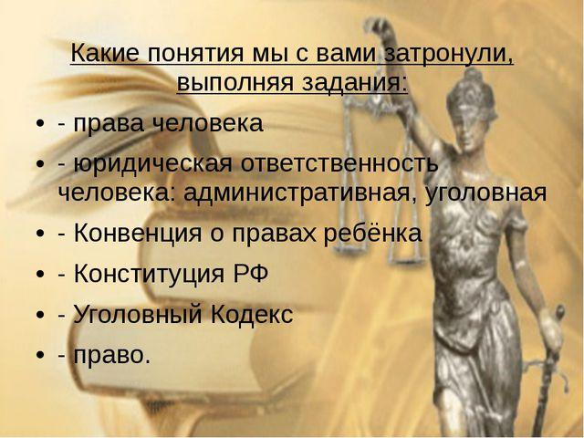 Какие понятия мы с вами затронули, выполняя задания: - права человека - юриди...