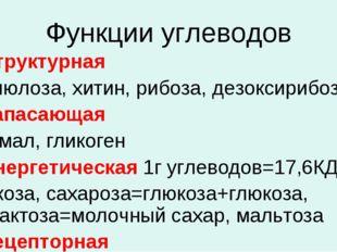Функции углеводов 1. Структурная целлюлоза, хитин, рибоза, дезоксирибоза 2. З