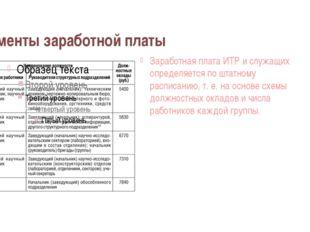 Элементы заработной платы Заработная плата ИТР и служащих определяется по шта