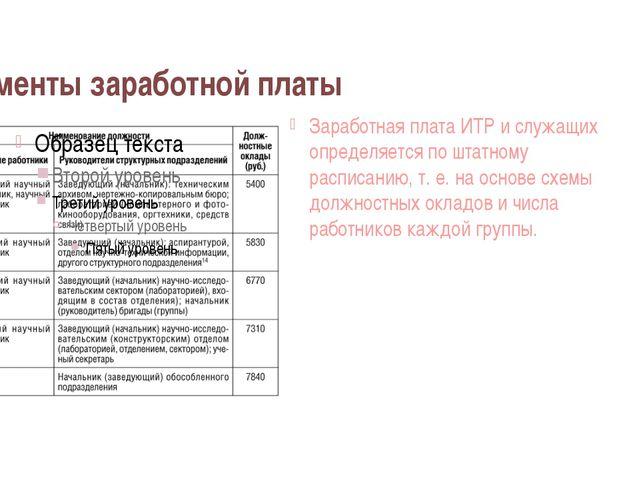 Элементы заработной платы Заработная плата ИТР и служащих определяется по шта...