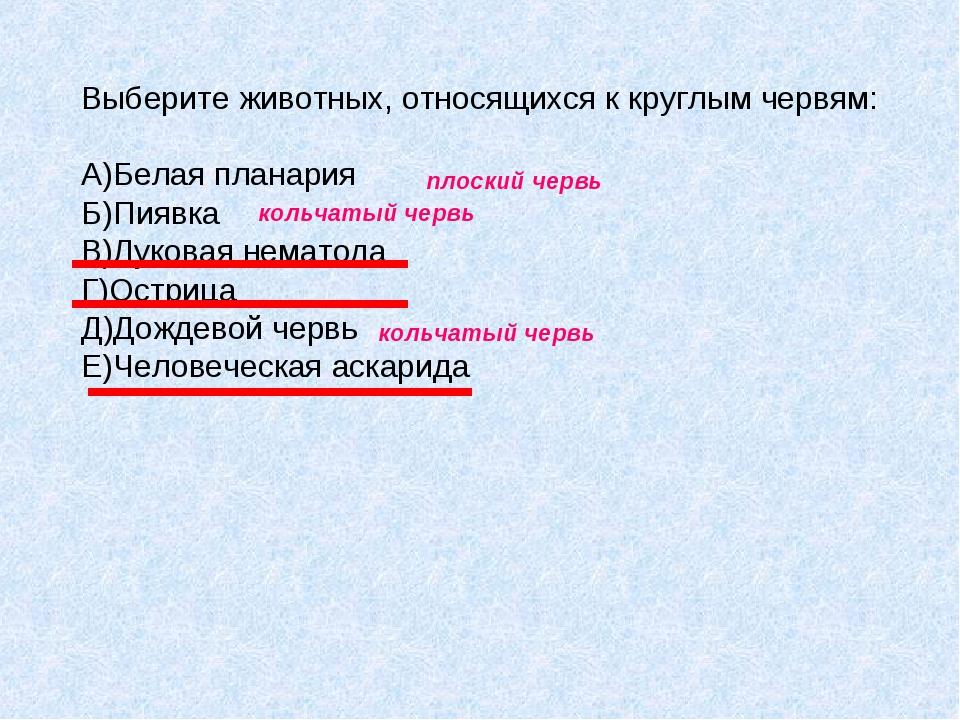 Выберите животных, относящихся к круглым червям: A)Белая планария Б)Пиявка B)...
