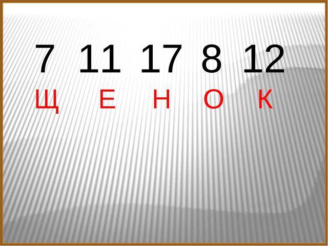 Щ Е Н О К 7 11 17 8 12