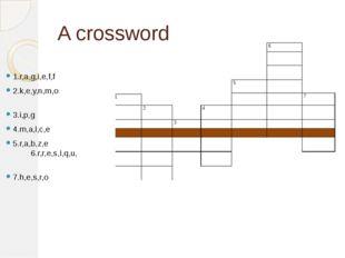 A crossword 1.r,a,g,i,e,f,f 2.k,e,y,n,m,o 3.i,p,g 4.m,a,l,c,e 5.r,a,b,z,e 6.r