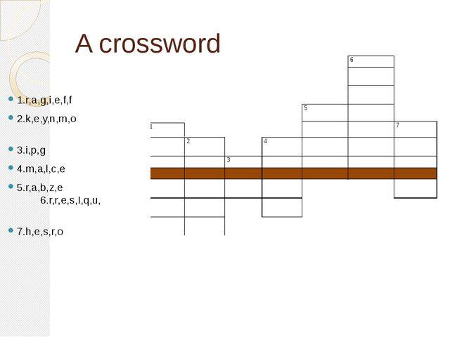 A crossword 1.r,a,g,i,e,f,f 2.k,e,y,n,m,o 3.i,p,g 4.m,a,l,c,e 5.r,a,b,z,e 6.r...