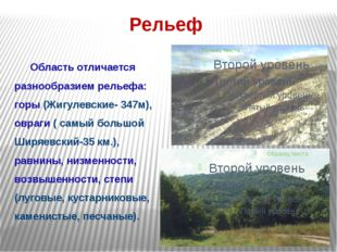 Рельеф Область отличается разнообразием рельефа: горы (Жигулевские- 347м), о