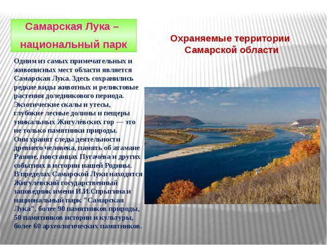 Охраняемые территории Самарской области Самарская Лука – национальный парк Од...