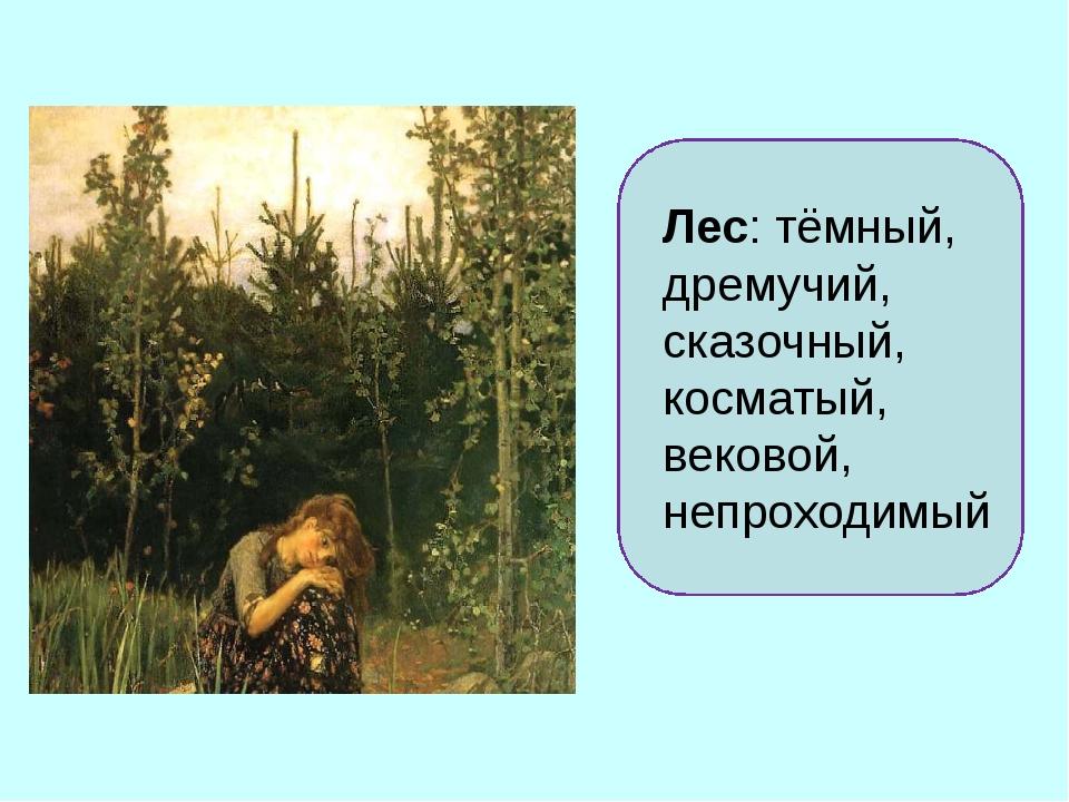 Лес: тёмный, дремучий, сказочный, косматый, вековой, непроходимый