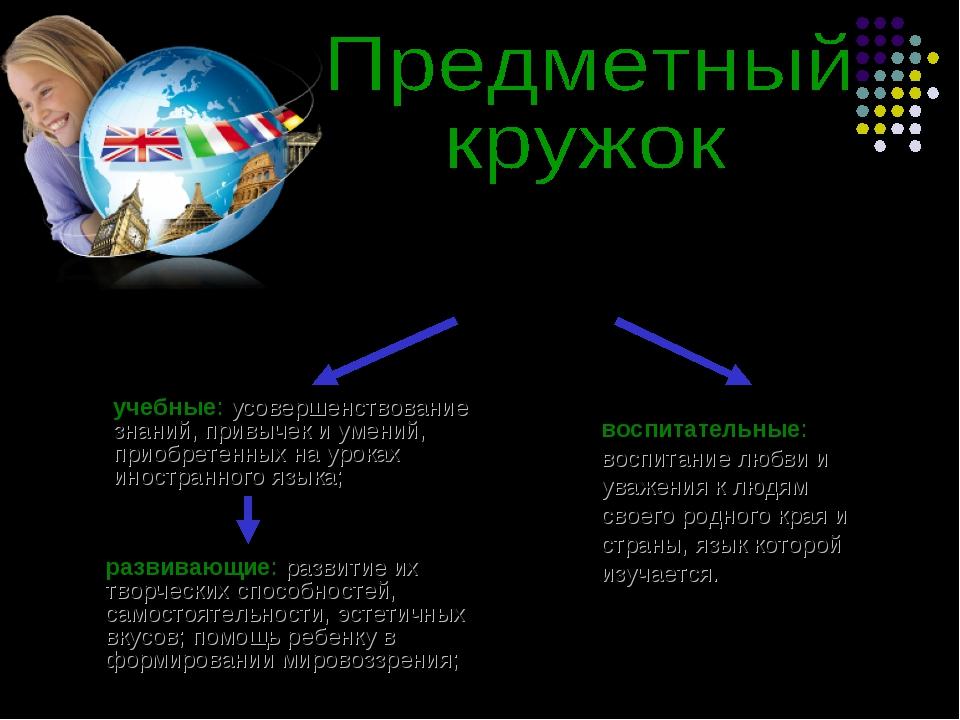 учебные: усовершенствование знаний, привычек и умений, приобретенных на урок...