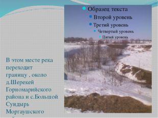 В этом месте река переходит границу , около д.Шерекей Горномарийского района