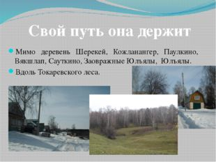 Мимо деревень Шерекей, Кожланангер, Паулкино, Вякшлап, Сауткино, Заовражные Ю