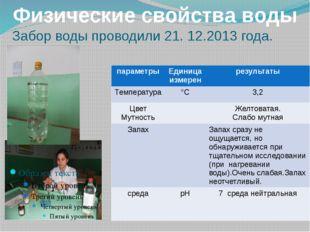 Забор воды проводили 21. 12.2013 года. Физические свойства воды параметры Ед