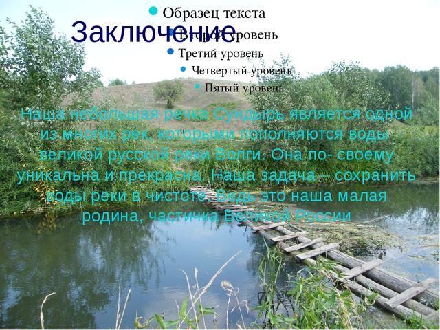 Заключение Наша небольшая речка Сундырь является одной из многих рек, которы...