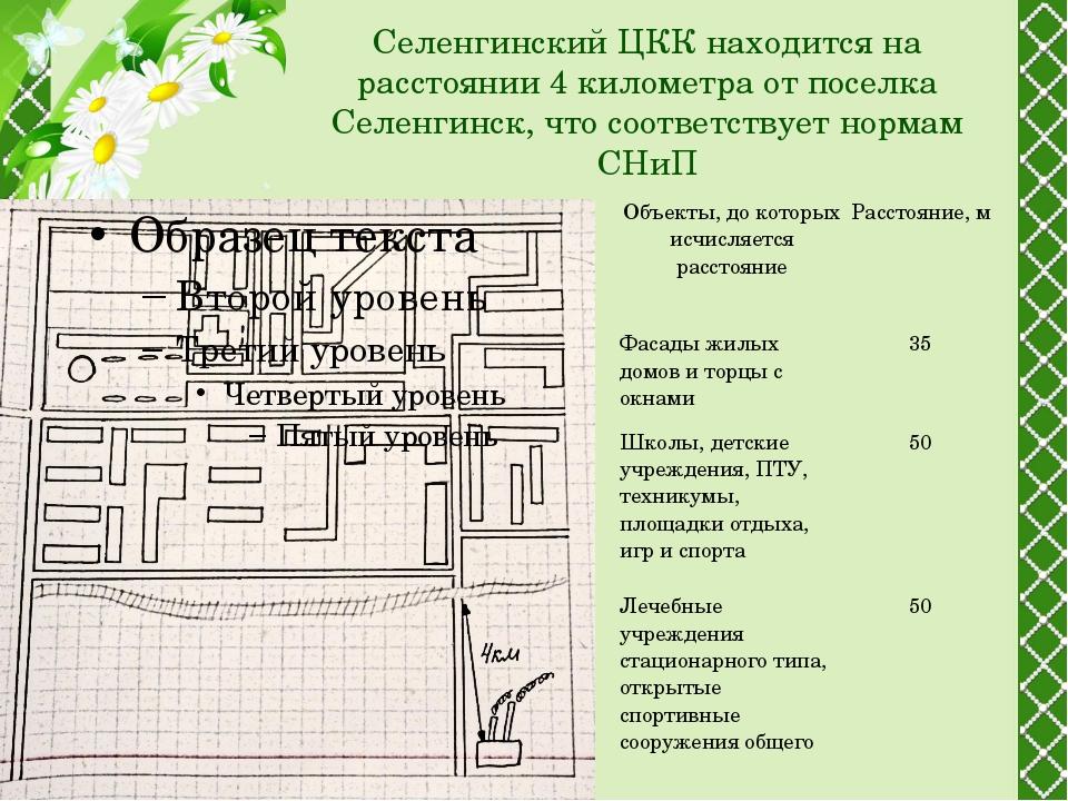 Селенгинский ЦКК находится на расстоянии 4 километра от поселка Селенгинск,...