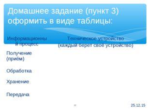 Домашнее задание (пункт 3) оформить в виде таблицы: * * Информационный процес