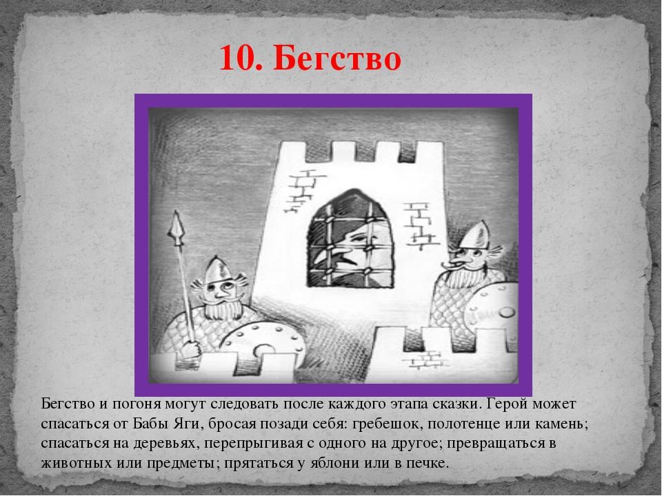 10. Бегство Бегство и погоня могут следовать после каждого этапа сказки. Геро...