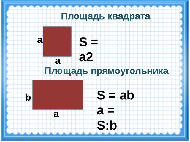 Площадь квадрата S = a2 a a b a S = ab а = S:b Площадь прямоугольника