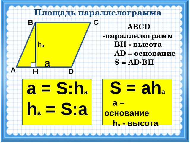 Площадь параллелограмма А D Н С В ABCD -параллелограмм ВН - высота AD – основ...