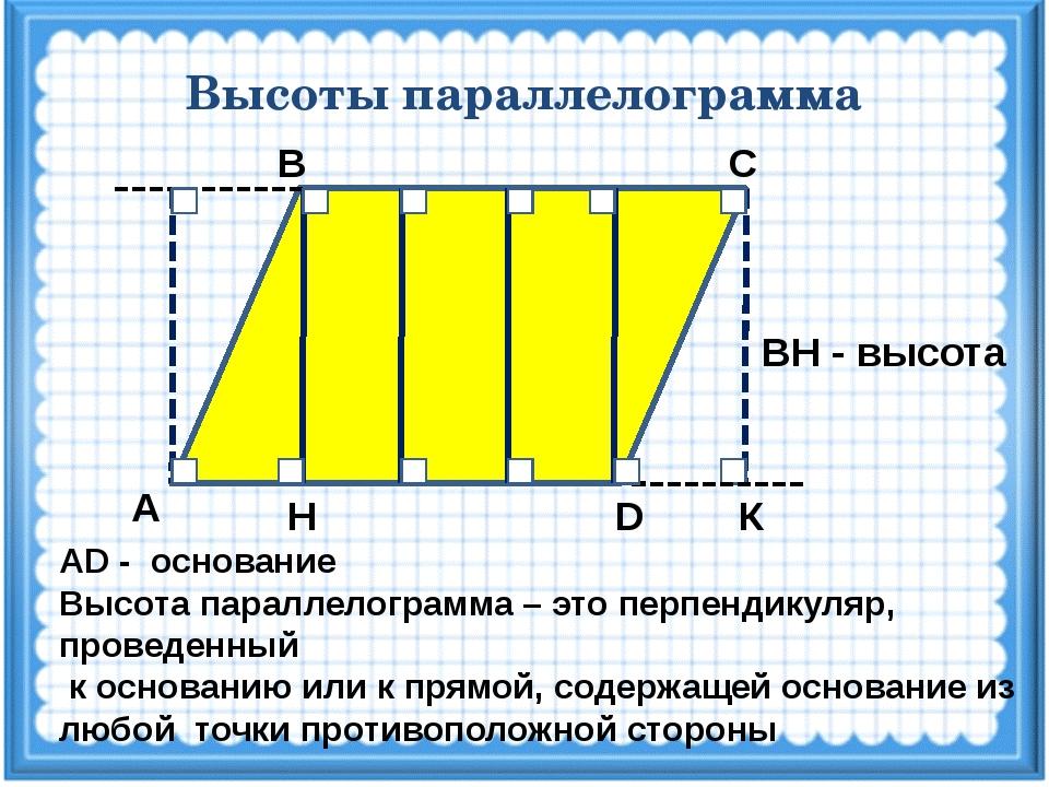 Высоты параллелограмма С В А D Н К ВН - высота АD - основание Высота параллел...